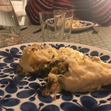 Lasagne med spagettipumpa istället för lasagneplattor – AIP, paleo, glutenfri, mjölkfri