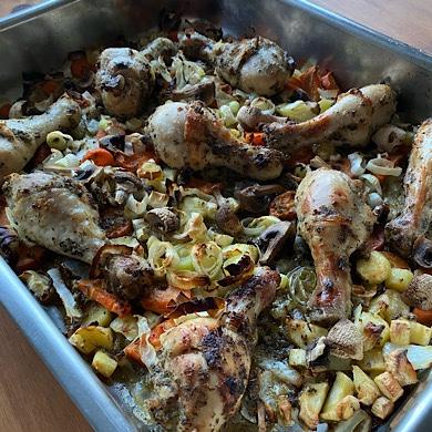 kyckling i en panna