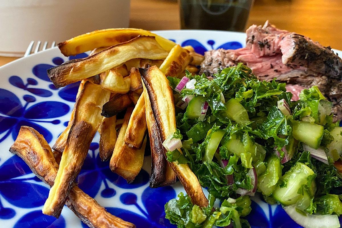 Flap steak med vitlök och timjan